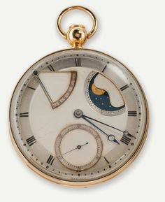 """Automatic (perpétuelle) quarter-repeating watch with dumb (à toc) repeater."" Sixty-hour power reserve, gold case with engine-turned decoration, silver engine-turned dial with Roman numerals, seconds subdial at numeral VI, window for phases of moon and power reserve indicator, Breguet hands of blued steel, twin-barrel movement, lever escapement, compensating balance wheel, platinum oscillating weight; diameter 2 1⁄8 in. (5.4 cm). Sold March 14, 1794, to Count Journiac-Saint-Méard for 3,600…"
