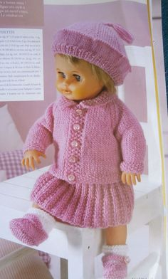 62 Ideas For Knitting Baby Girl Dress Doll Clothes Knitting Dolls Clothes, Doll Clothes Patterns, Clothing Patterns, Baby Born Clothes, Girl Doll Clothes, Dress Clothes, Knitting Baby Girl, Crochet Baby, Newborn Outfits