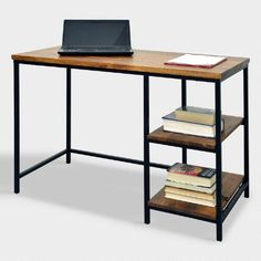 The clean, simple design of our contemporary desk makes it a versatile addition to any work area. With a black metal frame contrasted with chestnut-finished wood, it features two shelves for storing files and supplies.