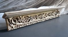 Hand Painted Wooden Bookshelf Pediment Fronton Detail Wall Decoration  #Baroque