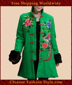 100% Handmade Linen Cotton Blouse Shirt Top - Oriental Chinese Embroidery Art #127 http://www.chinesefashionstyle.com/jackets-blouses/