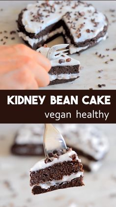 Kidney bean chocolate cake – vegan and free of refined sugar. Can be made with e… Kidney bean chocolate cake – vegan and free of refined sugar. Can be made with either red, white or magic kidney beans. Gluten-free, nut-free and high in plant protein Healthy Cake Recipes, Vegan Dessert Recipes, Healthy Sweets, Healthy Baking, Bread Recipes, Healthy Snacks, Bolo Vegan, Cake Vegan, Food Cakes