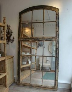 65 ideas for wall mirror diy frame old windows Old Window Frames, Window Mirror, Diy Mirror, Wall Mirror, French Windows, Old Windows, Recycled Decor, Repurposed, Garden Mirrors