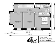 Case cu latimea de 7 metri - 3 proiecte generoase - Case practice Utila, Planer, House Plans, Modern Design, Floor Plans, Layout, How To Plan, Arquitetura, Houses