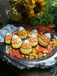 Candy corn art cookies