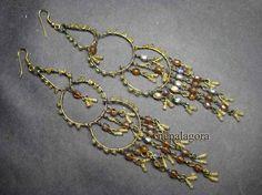 "E2125 5"" LONG Belly dance CHANDELIER glass Banjara gypsy HANDMADE EARRINGS India nepalagora #Handmade"
