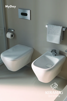 The myDay collection's wall hung WC and bidet by Keramag Design UK. Find more at: http://www.keramagdesign.com/