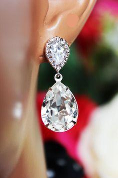 Swarovski Crystal Clear Wedding Earrings by AuroraJewelryBox