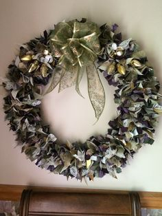 I make these wreaths as a hobby and I would like to share them with everyone. They are made with several different things. Fabric, lace, burlap, ribbons, tulle, flowers, ........ I have some that you may purchase. My Facebook Group has pics of more of them Penny's Precious Treasures feel free to check them out. love the feed back