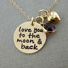 Love you to the moon and back necklace  Gold by jcjewelrydesign, $59.95