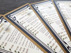 Art Nouveau | Peacock Feather | Wedding Order of Service Cards