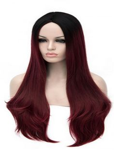 Tsnomore Fashion Black To Wine Red Straight  Women Cosplay Synthetic Wig