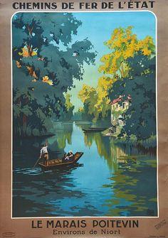 chemins de fer de l'état - Le Marais Poitevin, environs de Niort - vers 1920 - (Charles Hallo) -
