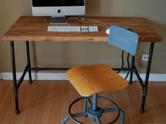 black pipe desk