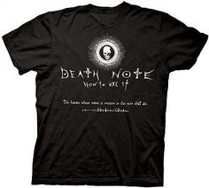 Death Note How To Use It Anime Manga Cotton Adult T Shirt