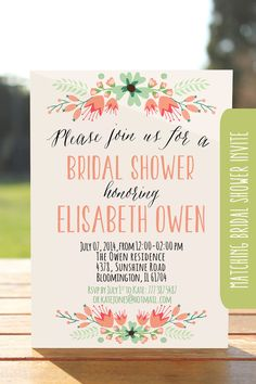 Bridal shower recipe card Printable recipe by OnlyPrintableArts