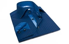 Navy Shirt Blue Polka-dots Blue Braid, Waisted-fit - Dress Shirts for Men - French-Shirts.com