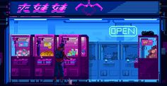 I decided to feature the work of Pixel Jeff, a pixel art who has been making magic for more than 10 years. I have put down a series of movie scenes or simple scenes that you might have come close with. Cyberpunk Aesthetic, Cyberpunk City, Neon Aesthetic, Aesthetic Videos, Vaporwave, Overlays, Arte 8 Bits, Pix Art, Pixel Animation