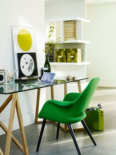 A clean white space gets a jolt of color and energy from a kelly green desk. http://www.ivillage.com/green-decor-your-home/7-a-534577