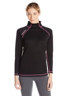 Scent-Lok Women's Wild Heart Baseslayer Top, Black, Large. Raglan sleeves for mobility. Carbon Alloy technology for maximum odor adsorption. Wicking treatment for superior moisture management. High collar for warmth.