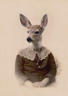 Audrey - Vintage Deer 5x7 Print - Anthropomorphic - Altered Photo - Gift Idea - Baby Animal - Whimsical Art - Photo Collage Art - Fantasy