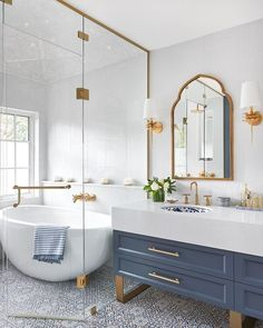 A Master Bathroom fit for a Duchess! A Master Bathroom fit for a Duchess! Beautiful Bathrooms, Modern Bathroom, Small Bathroom, Master Bathroom, Gold Bathroom, White Bathrooms, Vanity Bathroom, Dream Bathrooms, Bathroom Cabinets