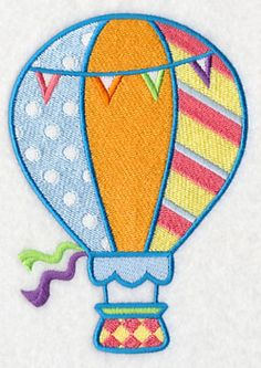 Playful Patterned Hot Air Balloon Machine Embroidery Designs at Embroidery Library! -