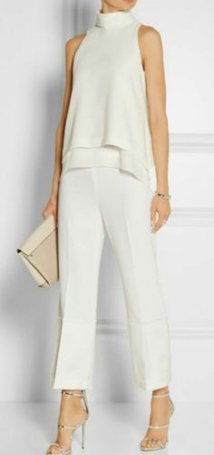 Everly silk chiffon-trimmed crepe top by Elizabeth and James - Satin-trimmed crepe wide-leg pants by Theory Fashion Mode, Look Fashion, Womens Fashion, Fashion Trends, White Fashion, Street Fashion, Fashion Ideas, White Outfits, Casual Outfits
