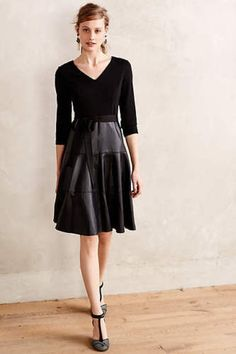 NWOT-Anthropologie-Maeve-Black-Vegan-Leather-Fit-and-Flare-Dress-Size-4