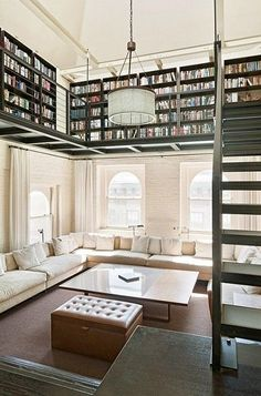 While it's a bit small compared to her castle library, Belle would love reading in this loft's natural light.