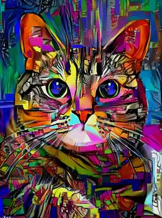 Colorful Animal Paintings, Colorful Animals, Cute Animals, Cat Pattern Wallpaper, Art Original, Cat Colors, Acrylic Canvas, Cat Art, Collage Art