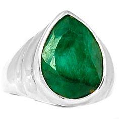 Emerald 925 Sterling Silver Ring Jewelry s.8 EMER1338 - JJDesignerJewelry