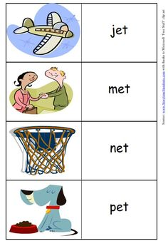 Just what i need!    Word family printables for twenty word families (all, an. am, at, etc) include easy-to-read words and pictures. Free PDF download.