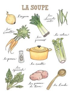 La Soupe fine art watercolor print by trialbycupcakes on Etsy Watercolor Food, Watercolor Print, Recipe Drawing, Cuisine Diverse, Food Journal, Food Drawing, French Food, Kitchen Art, Food Illustrations