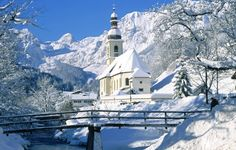 Photos of Berchtesgaden, Germany [Winter Church] - Bing Images Old Country Churches, Old Churches, Berchtesgaden Germany, Cathedral Church, Church Building, Place Of Worship, Winter Landscape, Landscape Mode, Kirchen