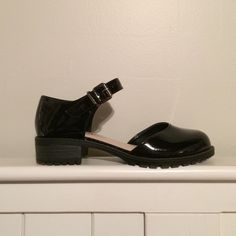 """Soda Black Patent Mary Janes Originally from ModCloth. Black patent faux leather Mary Janes. 1.5-2"""" heel. In perfect condition, worn only once. Super cute and edgy with a chunky heel, but too narrow for me. Would fit a narrower foot best! Soda Shoes Flats & Loafers"""