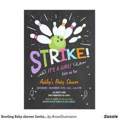 Bowling Baby shower Invitation Pink Purple Girl