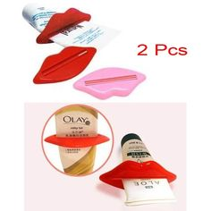 2 Pcs Practical Toothpaste Squeezer Tube Dispenser with Mouth Lip Shape-Red and pink - Lifestyle Gadgets - Gadgets