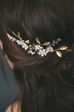 Gold Leaf Bridal Hair Comb Set