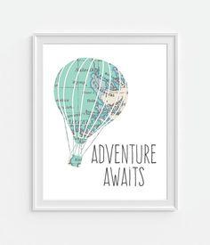 Vintage Map Hot Air Balloon Print 'Adventure von Picturality