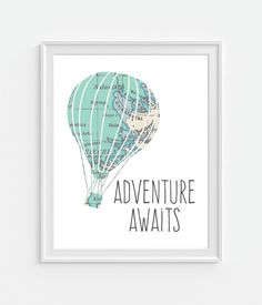 Adventure Awaits Hot Air Balloon with a Vintage Map.    Choice of Size  5x7  8x10  11x14