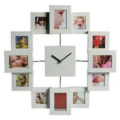 Comprar Reloj de Pared | Portafotos 12 Fotos al mejor precio.Elreloj de pared portafotos con 12 marcoses sin duda unreloj de paredmuy original que dará un toque especial a cualquier pared donde lo ponga. Útil y práctico para saber la hora en todo momento y decorar su rincón favorito con sus mejores recuerdos.Medidas de la pieza entera: 35 x 35 cm.Medidas de los marcos de fotos: 6 x 6 cm y 7 x 7 cm (alternos).Medidas aprox. esfera reloj: 10 x 10 cm.