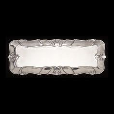 Classical workmanship, sand-casting and polishing, fashions the fleur de lis oblong tray from Arthur Court Designs. Traditional Platters, Arthur Court, Alternative Metal, Sand Casting, Little Miss, Kids House, Tray, Classic, Silver