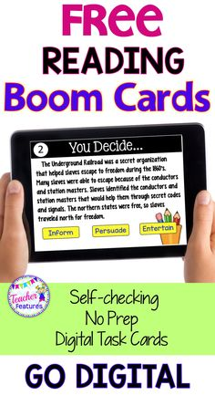 Boom Cards | Boom Cards Reading | Grab this Boom Cards FREE deck on Author's Purpose for 2nd & 3rd grade readers. It's No Prep, Self checking and if you have an account with Boom Learning it will collect data on your student's mastery. CLICK NOW to try it for FREE! #boomcards #boomcardsreading #techinprimary #techintheclassroom #TeacherFeatures #readingstrategies #readingcomprehension #googleapps #boomcardssecondgrade #boomcardsthirdgrade #boomcardsfree #authorspurpose #TpT #backtoschool