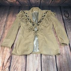 CHAR Santa Fe Concho Native Indian Artifact Suede Leather Fringe Jacket Size  10  CHARSANTAFE   ab43d8d7f4fc