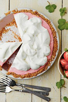 Strawberry-Pretzel Icebox Pie - Chilled Summer Pies - Southernliving. Recipe: Strawberry-Pretzel Icebox Pie  Not only is this a gorgeous dessert, but the combination of salt from the crushed pretzels and sweetness from the strawberries makes this recipe irresistible.