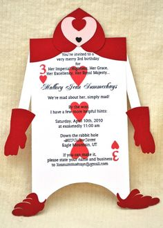 Alice in Wonderland Birthday invitation, Playing card invitation, Queen of Hearts