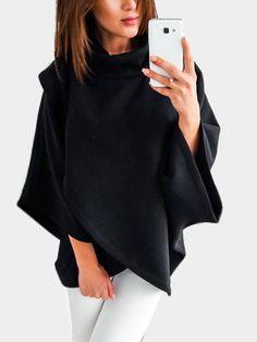 7eda3a8c37a8 Black Chimney Collar Flared Sleeves Irregular Hem Sweater