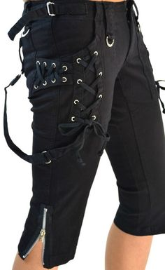 Tripp NYC Gothic Corset Steampunk Straps Punk Goth Capri Pants IS2161 Black 3 S | eBay