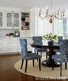 In this home, opting for lower-cost yet still stylish furniture—like the breakfast room's Pier 1 chairs—was key in the rooms frequented by young children. - Photo: Werner Straube / Design: Corey Damen Jenkins - Home Decor Styles Upholstered Dining Chairs, Dining Furniture, Furniture Design, Furniture Ideas, Furniture Movers, Eames Chairs, Furniture Online, Lounge Chairs, Luxury Furniture